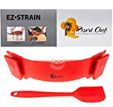Resort Chef Kitchen Clip-on Pot Strainer. Best for Straining Pasta, Meat Grease, Eggs, Rice, Fruits & Vegetables - BPA Free FDA Approved - Includes Bonus Matching Silicone Spatula - Makes a Great Gift