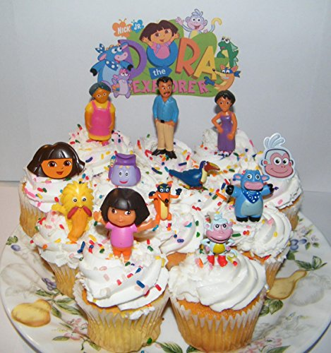 Dora The Explorer and Friends Deluxe Cake Toppers Cupcake Decorations Set of 12 with Figures and Rings Featuring Boots, Dora, Grandma, Swiper, Mom amd More! -  612520435455