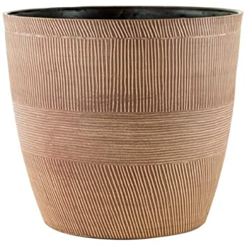 Caramel Wood Small Large Plant Pots Round Plastic Planters Indoor Outdoor Garden Large