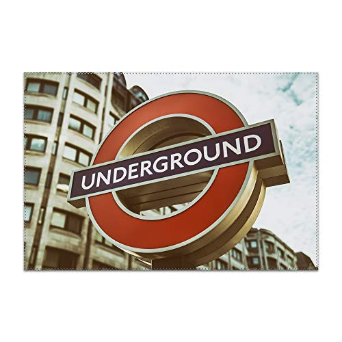 Boeshkey London Underground Table Mats,Placemat Non-Slip Washable Place Mats,Heat Resistant Kitchen Tablemats for Dining Table -