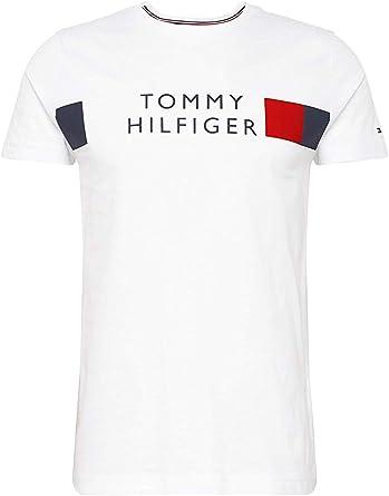 Tommy Hilfiger de los Hombres Camiseta de Rayas, Blanco: Amazon.es: Ropa y accesorios