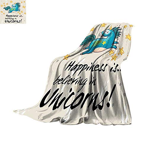 - Unicorn Home and Kids Decor Lightweight Blanket Believing Unicorns Quote Illustration with Star Elements Digital Printing 60