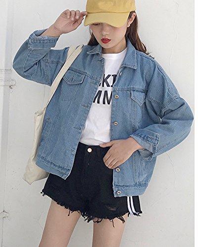Boyfriend De Señoras Larga De Abrigo Outwear Denim Mujer De De Chaqueta Mezclilla Para Manga De wBxa8xqn