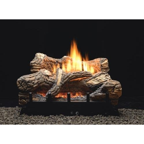 - Thermostat 5-piece 24 inch Ceramic Fiber Log Set - Natural Gas