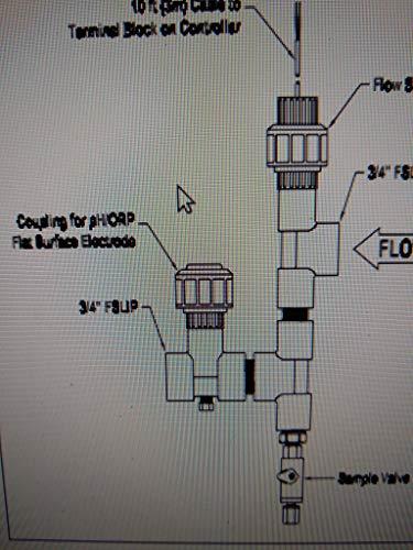 LMI pH sensor Part 32821. for LMI pH Controllers, for LMI DP5000 Series Flat Surface Combination pH ectrode, Submersible PVC Body
