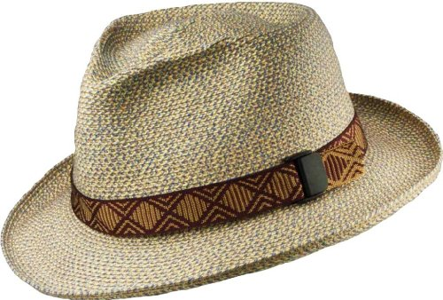 San Francisco Hat Company Slouch UPF50+ Packable Braid Fedora (Denim) Large/XL (Sewn Braid Fedora Hat)