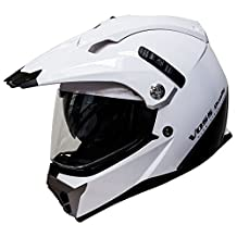 Voss 600 Dually Dual Sport Helmet with Integrated Sun Lens and Removable Peak DOT - XXL - Gloss White