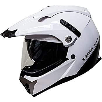 Voss 600 Dually Dual Sport Helmet with Integrated Sun Lens and Removable Peak. Chrome Outer