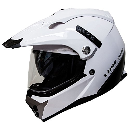 Voss 600 Dually Dual Sport Helmet with Integrated Sun Lens and Removable Peak DOT - XL - Gloss White