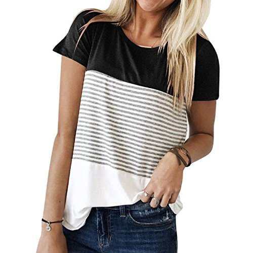 Sufiya Stripe T-Shirt Triple Color Block Casual Blouse Round Neck Short Sleeve Tops