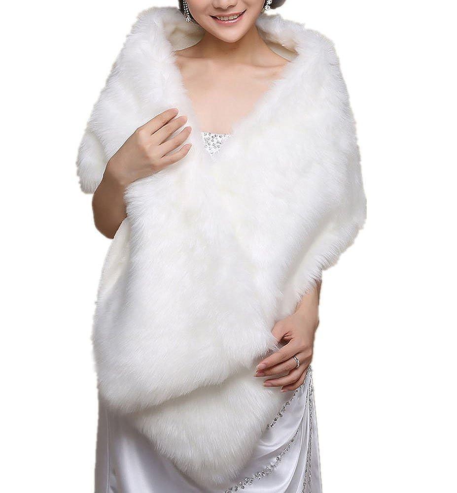 Insun Donna Scialle peluche pelliccia sintetica donne sposa Corpetto Bolero Giacche da sposa IS-QLYYPJ028-1
