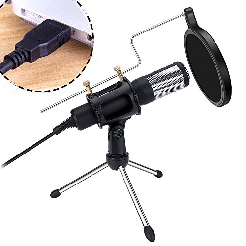 QIBOX K90 USB Condenser Microphone with Pop Filter & Stand, Plug & Play Home Studio Microphones for PC Laptop, Smule, YouTube, Google Voice Search, Podcasting, Games (Windows/Mac)