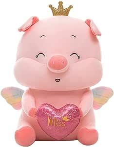 GYFDC 1pc 35/45/60/75 cm Gigante Kawaii Corona ángel Cerdo Cerdo Peluche Juguete cariño Cerdo Girly corazón muñeco Dormir compañero de Dormir para niño bebé niño niña Encantadora Cumple