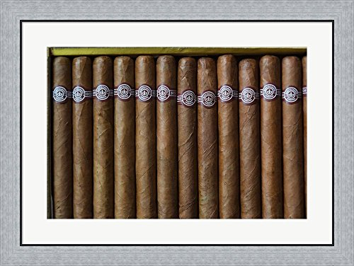 Cuba, Pinar del Rio Province, Cuban Cigars by Walter Bibikow / Danita Delimont Framed Art Print Wall Picture, Flat Silver Frame, 32 x 24 inches