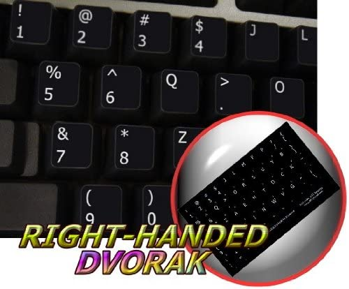 LAPTOP AND NOTEBOOK DVORAK RIGHT-HANDED NON-TRANSPARENT KEYBOARD STICKER ON BLACK BACKGROUND FOR DESKTOP