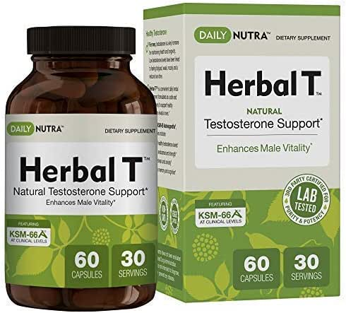 Herbal T Natural Testosterone Booster for Men: Increase Energy, Endurance, and Vitality - Featuring Clinically Proven KSM-66 Ashwagandha (1-Bottle)