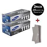 2 x Original Samsung MLT-D111S Toner for SL-M2020W, SL-M2070W/FW, Black + InkSAVER MicroFiber LCD Screen Cleaning Cloth
