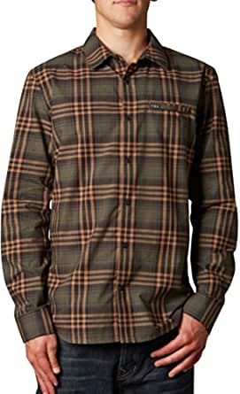 Fox Racing Mens Mercer Woven Button Up Long-Sleeve Shirt, Military, 2X-Large