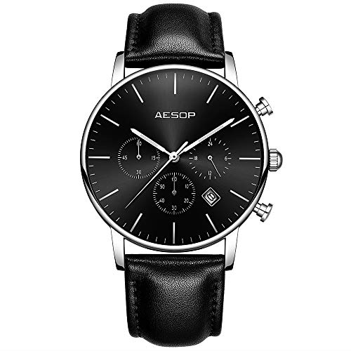 - Aesop Men's Ultra-Thin Quartz Wrist Watch with Leather Strap/Multi-dial Calendar Waterproof(Black)