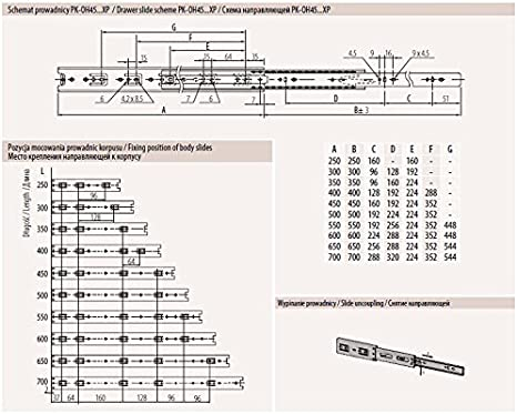 Length Universal Metal Drawer Runners Groove Ball Bearing Height 278mm 17mm