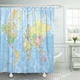 Emvency Shower Curtain Blue Africa Political World Map in Mercator Projection All Arab Waterproof Polyester Fabric 60 x 72 inches Set with Hooks