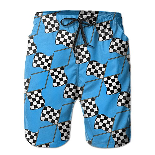 Race Waving Checkered Flag Clipart Mens Slim Fit Quick Dry Short Swim Trunks With Mesh Lining