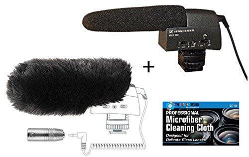 "Sennheiser MKE 400 Video Camera Shotgun Microphone + Sennheiser MZW400 Wind-muff and XLR Adapter Kit + ""The Imaging World"" Camera and Lens Cleaning Cloth"