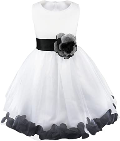 New Rose Petals Flower Girl Dress Princess Pageant Party Dance Wedding Gown With