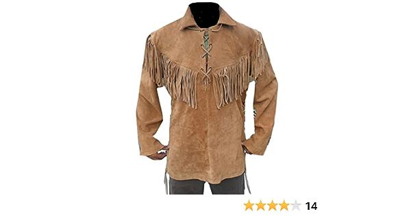 coolhides Western - Camisa de Piel de Vaquero con Flecos para Hombre