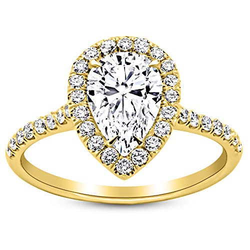 1 Carat 14K Yellow Gold Halo Pear Cut Diamond Engagement Ring (0.5 Ct F Color SI3 Clarity Center Stone) ()