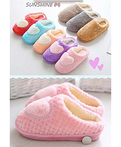 Women Cozy Slippers Blue Plush Heart Slippers Slippers Winter Indoor Fuzzy wUxZRn4q