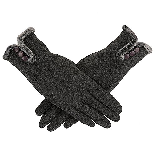 Loneflash Women Waterproof Driving Full Finger Gloves Touch Screen Glove (Gray) ()
