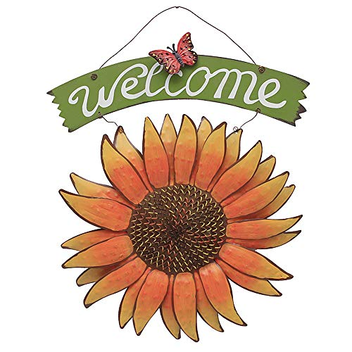 YK Decor Metal Sunflower Welcome Sign Front Door Decor Hanging Welcome Sign Sunflower Garden Decor Indoor Outdoor Signs and Decor