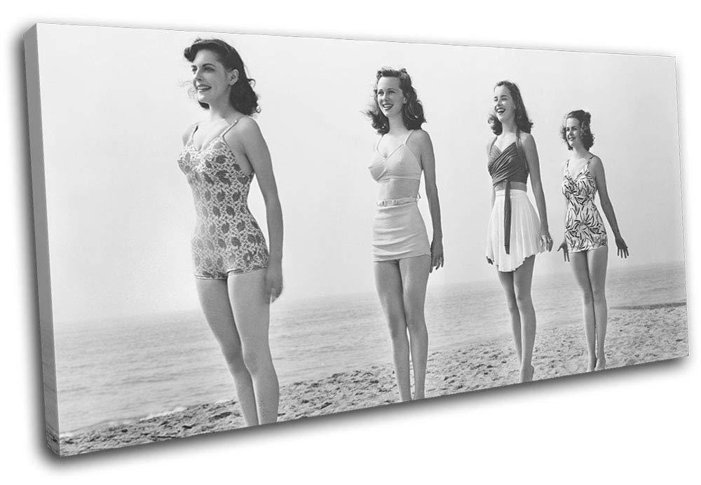 Bold Bloc Pin-up Design - 1920s Pin-up Bloc Girls Standing Tall Vintage 180x90cm Single Leinwand Kunstdruck Box gerahmte Bild Wand hangen - Bereit Zum Aufhangen - Canvas Art Print RC-0394(00B)-SG21-LO-D cf2dae