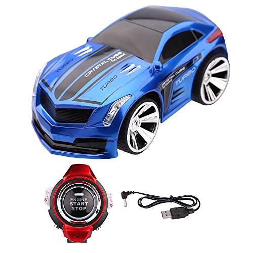 XUZOU Remote Control RC Car Rechargeable Voice Control Toy Car Wrist Watch Command Creative Voice-Activated(Blue) -