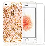 Iphone SE Case, A-Focus Rose Gold Luxury Bling Glitter Bumper Clear Transparent Soft Gel TPU Case with Colloid Infused Glitter Stars + Glass Screen Protector for Iphone 5 / 5s / SE ( Rose Gold )