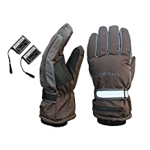 Goodkssop Men Rechargeable Li-ion Battery Heated Warming Electric Gloves Wind-resistant for Ski Snowboard Winter Outdoor Sporting Work Hand Back Heating Brown