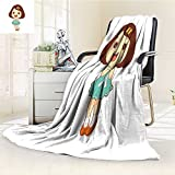 Fleece Blanket 300 GSM Anti-static Super Soft happy cute child girl cartoon character colored isolated vector illustration Warm Fuzzy Bed Blanket Couch Blanket(60''x 50'')