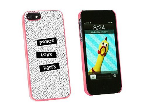 Graphics and More Peace Love Tigers Snap-On Hard Protective Case for iPhone 5/5s - Non-Retail Packaging - Pink