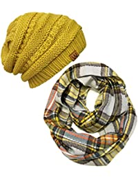 Tartan Winter Infinity Scarf with Beanie