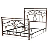 Fashion Bed Group Lucinda Complete Metal Bed and Steel Support Frame with Intricate Scrollwork and Sleigh-Styled Top Rails, Marbled Russet Finish, King Review