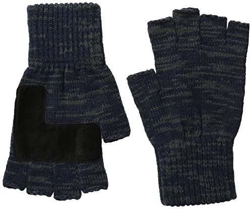 Levi's Men's Heathered Knit Fingerless Gloves,Two Toned Navy,One Size