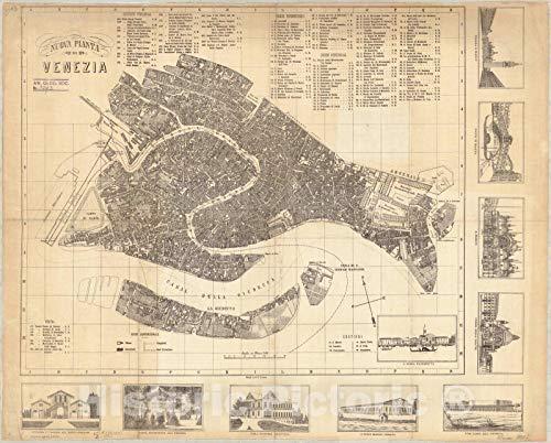 Historic Pictoric Map : Venice, Italy 1890, Nuova pianta di Venezia, Antique Vintage Reproduction : 55in x 44in (Antique Venice Map Of)