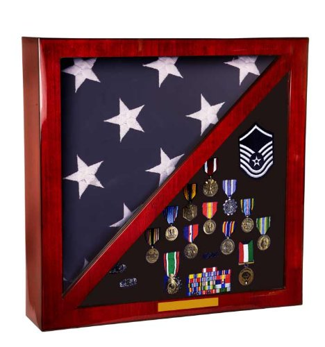Large Shadow Box Flag Case Holds Medals, Awards and Military Memorbilia Area In a Rosewood Paino Glossy Finish 18' x 18' Square Case