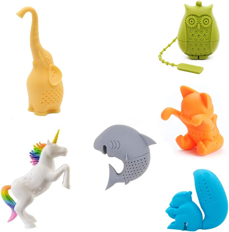 Cute Animal Silicone Tea Filters Tea Infuser Unicorn Shark Squirrel Cat Owl Elephant Tea Strainer Steeper-Ideal Gift for Tea Lovers (6PCS 1)