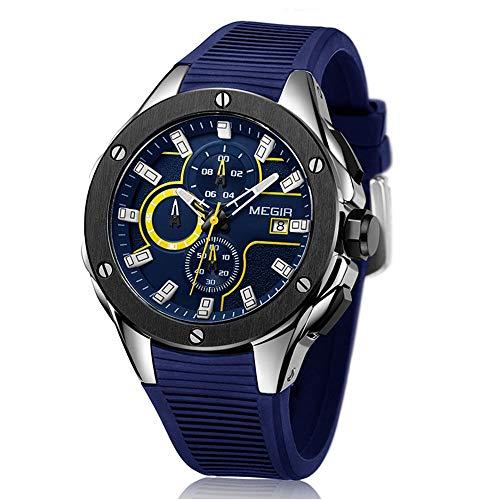 Megir Marca Reloj Hombre Deportivo Sumergible de Azul Correa de Silicona,analógico cronómetro Relojes Militar para Hombre 2018 novedades: Amazon.es: Relojes