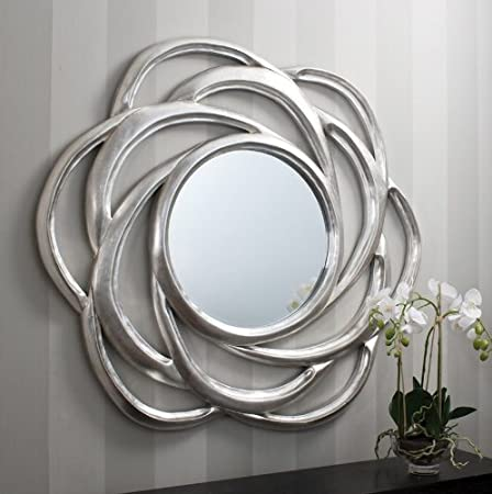 Large Pleat Design Round Silver Wall Mirror 45inch Gl156 Amazon Co