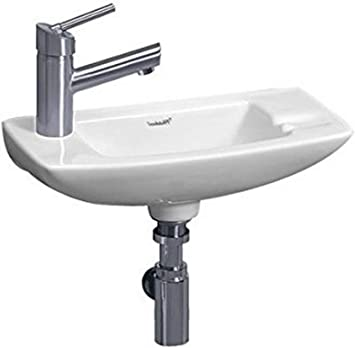 Whitehaus Wh1 103l Wh Isabella 17 1 2 Inch Small Wall Mount Lavatory Basin With Center Drain And Left Hand Faucet Drilling White Wall Mounted Sinks Amazon Com