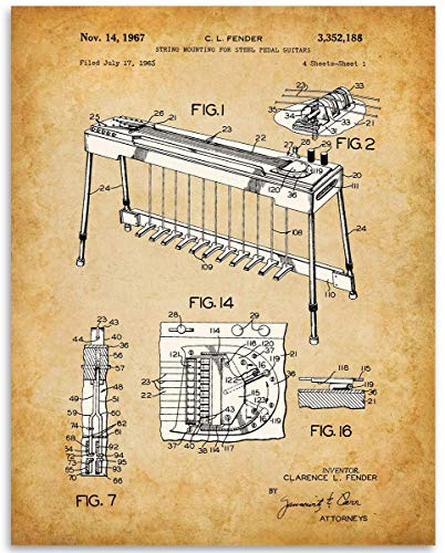 Steel Guitar Patent Print - 11x14 Unframed Patent - Great Gift Under $15 for Guitar Players