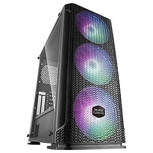 MARS GAMING MCEX, Caja Gaming Negra E-ATX, 3 Ventiladores RGB 14cm+Frontal Mesh